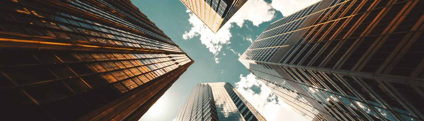 Background image of low angle view of the skyscrapers in nyc